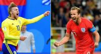 Sweden's midfielder Emil Forsberg  and England's forward Harry Kane