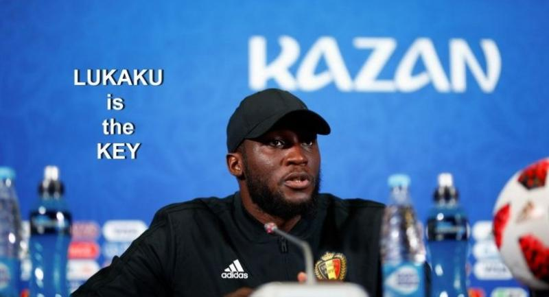 Belgium's forward Romelu Lukaku reacts and speaks during a press conference.