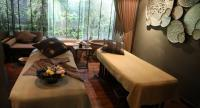 The treatment rooms boast a modern design along with a steam room, en-suite bathroom, and two large lotus motif baths.
