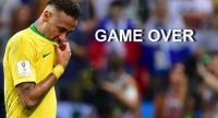 Brazil's forward Neymar reacts after losing the Russia 2018 World Cup quarter-final football match .
