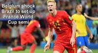 Belgium's midfielder Kevin De Bruyne celebrates after scoring his team's second goal