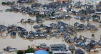 An aerial view of the flood in Kurashiki city, Okayama Prefecture, western Japan, 08 July 2018. Heavy rainfall killed 65 people and missing more than 45 people in southwestern and western Japan, public television reported on 08 July 2018. // EPA-EFE