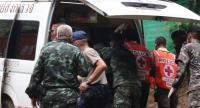 Thai authorities placing a rescued boy in an ambulance for transportation from Tham Luang cave to a hospital, in Khun Nam Nang Non Forest Park, Chiang Rai province, Thailand on July 8.//EPA-EFE