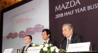 Chanchai Trakarnudomsuk, president of Mazda Sales (Thailand), together with other executives, speaks at the company's half-year  conference yesterday.