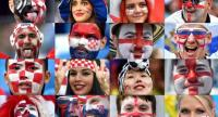 This combination of photos created on July 9, 2018 shows Croatia and England's fans supporting their team during the Russia 2018 World Cup football tournament.