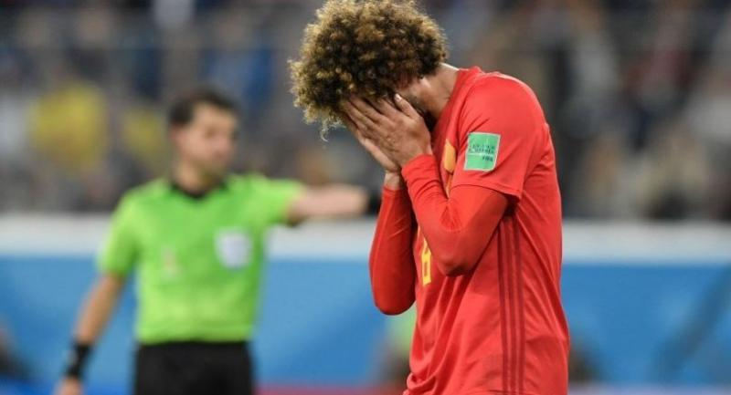 Belgium's midfielder Marouane Fellaini reacts after his shot misses the goal during the Russia 2018 World Cup semi-final football match between France and Belgium.