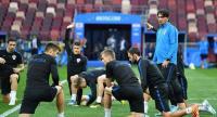 Croatia's coach Zlatko Dalic leads a training session of the Croatian national football team.
