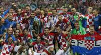 Players of Croatia pose for photographs after the FIFA World Cup 2018 final.
