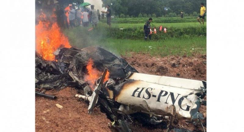 Copter crashes in Khon Kaen paddy field, kills 4