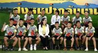 The 12 boys of the Mu Pa football team and their coach yesterday give their first media interview since being rescued from Tham Luang cave on July 10. The team was discharged from hospital yesterday.