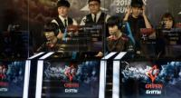 Members of professional eSports team 'Griffin' prepare to compete in a 'League of Legends' competition in Seoul.