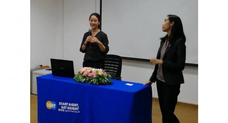 Romchat Jantranugul (left), tells Thai students about her university at an Inclusive Global Education Thailand (iGET) event.