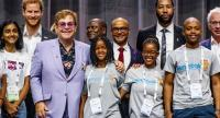 Britain's Prince Harry (2-L) and Sir Elton John (3-L) along with others attend a session about the 'Elton John Aids Fund' on the second day of the International AIDS Conference 2018 (AIDS2018), in Amsterdam, The Netherlands on July 24.//EPA-EFE