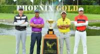 John Catlin , Shiv Kapur, Thongchai Jaidee and Phachara Khongwatmai pose with the Champions Trophy for the Royal Cup  at the Phoenix Gold Golf