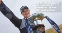 Ariya Jutanugarn poses with the trophy. / PHOTO CREDIT TO LPGA