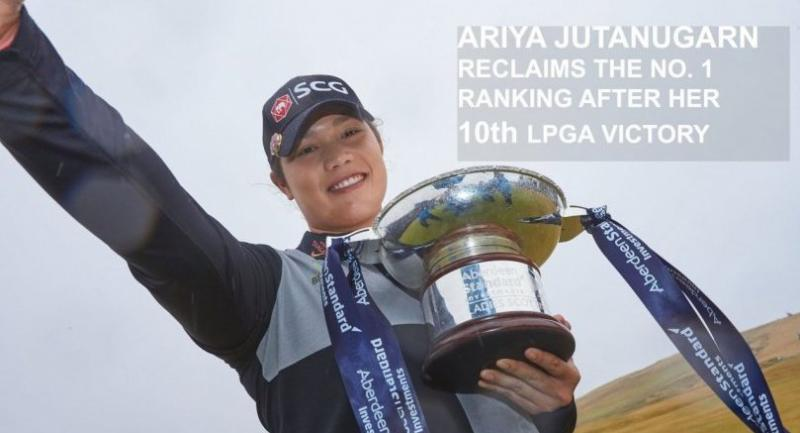 Ariya Jutanugarn poses with the trophy. / PHOTO CREDIT TO LPGA