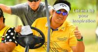 Kiradech Aphibarnrat gives a thumbs-up during his visit to the Royal Cup in Pattaya.