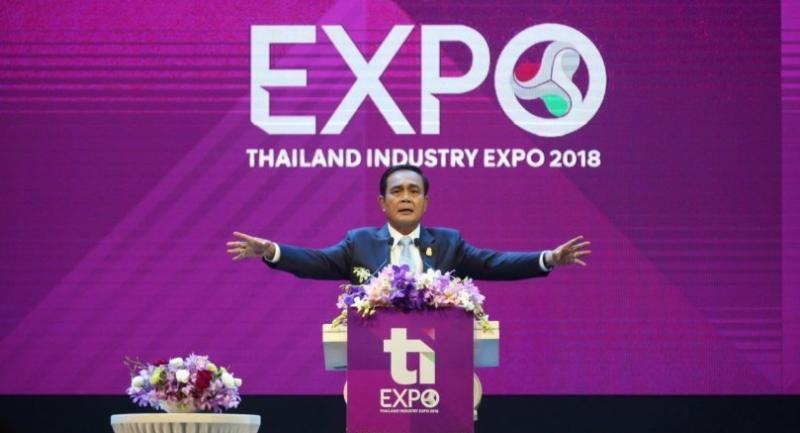 Prime Minister Prayut Chan-o-cha presides over the opening of the four-day Thailand Industry Expo 2018 at the Impact Arena Exhibition Hall in Muang Thong Thani.