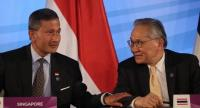 Singapore Foreign Minister Vivian Balakrishnan, left is the current chair of Asean and Thai Foreign Minister Don Pramudwinai whose country would take turn next year.EPA-EFE/WALLACE WOON