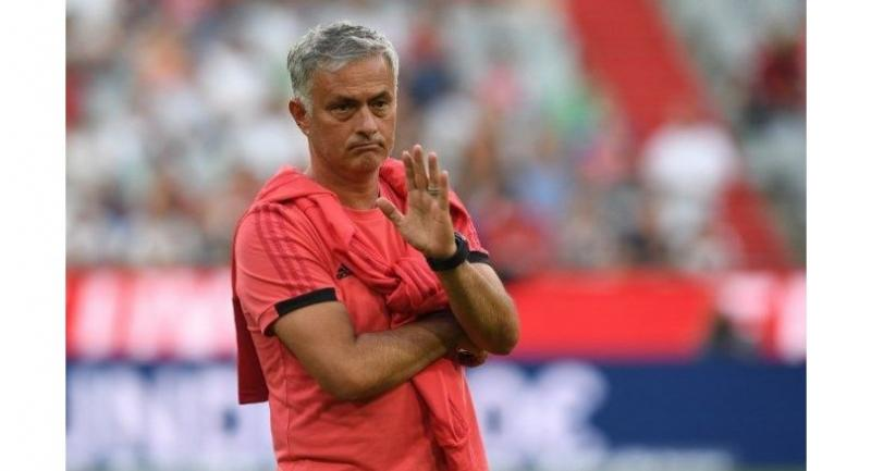 Manchester United's Portuguese manager Jose Mourinho gestures prior to the pre-season friendly football match between FC Bayern Munich and Manchester United.