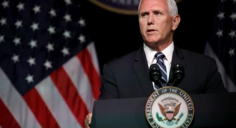 U.S. Vice President Mike Pence announces the Trump Administration's plan to create the U.S. Space Force by 2020 during a speech at the Pentagon August 9, 2018 in Arlington, Virginia./AFP