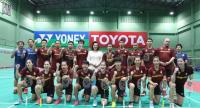 The Thai badminton team with coach Rexy Mainaky, fourth from left in the back row, after a practice session at the Badminton Association of Thailand.