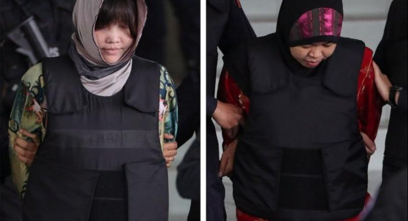 A combination photo of Vietnamese Doan Thi Huong (L) and Indonesian Siti Asiyah (R) who were detained in connection with the death of Kim Jong-Nam, are escorted out of the Shah Alam High Court on August 16.//EPA-EFE