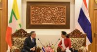 Thai Foreign Minister Don Pramudwinai meets with Myanmar State Counsellor Aung San Suu Kyi at the 9th meeting of the Joint Commission for Bilateral Cooperation in Nay Pyi Taw earlier this week. (courtesy of Thai Foreign Ministry)
