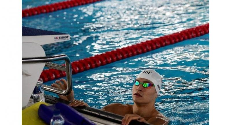 China's Sun Yang attends a swimming training session at the Aquatics center during the 2018 Asian Games in Jakarta on August 18, 2018.