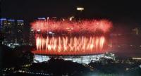 Fireworks explode over the Gelora Bung Karno main stadium during the opening ceremony of the 2018 Asian Games in Jakarta on August 18, 2018.