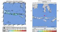 A handout photo made available by the US Geolocial Survey (USGS) on 19 August 2018 shows an shake map of a 6.3-magnitude earthquake 7.9 km deep west-southwest of Belanting town in East Lombok on the Lombok island, Indonesia, 19 August 2018.  EPA-EFE