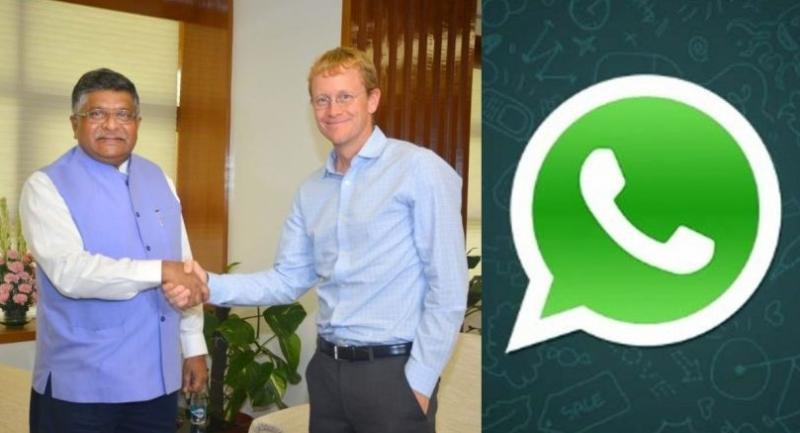 Union IT Minister Ravi Shankar Prasad with WhatsApp CEO Chris Daniels, in New Delhi on August 21, 2018. (Photo: Twitter/@rsprasad)