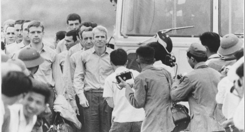 An undated photograph made available by the National Archives on 25 August 2018 shows Naval Aviator John McCain (C) as he is being released with other prisoners of war from detention in North Vietnam in 1973.//EPA-EFE