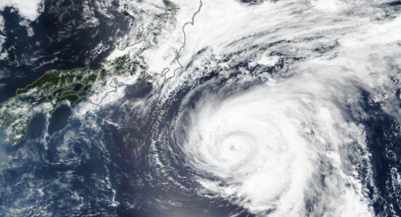Typhoon Shanshan Approaches Japan on August 8, 2018. Photo credit: Lauren Dauphin, NASA Earth Observatory image
