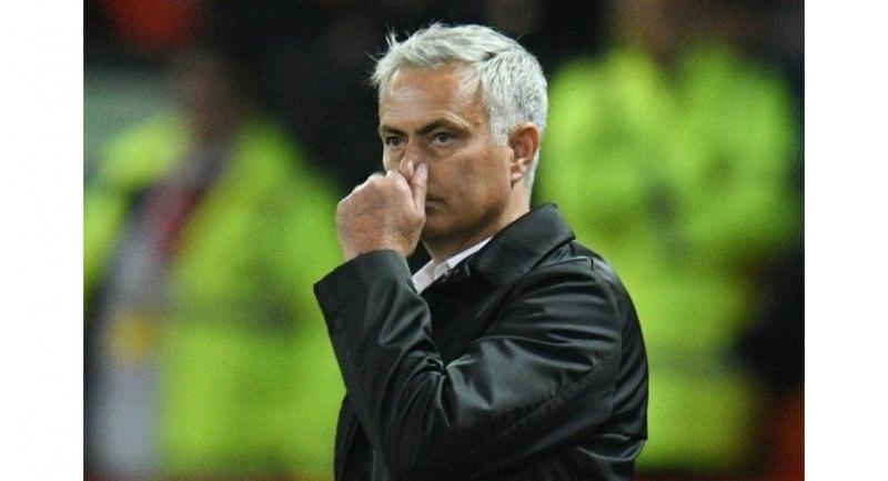 Manchester United's Portuguese manager Jose Mourinho gestures from the touchline after the final whistle in the English Premier League football match between Manchester United and Tottenham Hotspur.