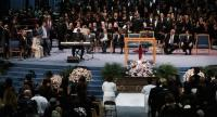 Stevie Wonder performs at the funeral for Aretha Franklin at the Greater Grace Temple on August 31, 2018 in Detroit, Michigan./AFP