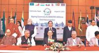 Foreign ministers and heads of state or government from the Bay of Bengal Initiative for Multi-Sectoral Technical and Economic Cooperation member states at the signing ceremony of the MoU on Regional Grid Interconnection, in Kathmandu.