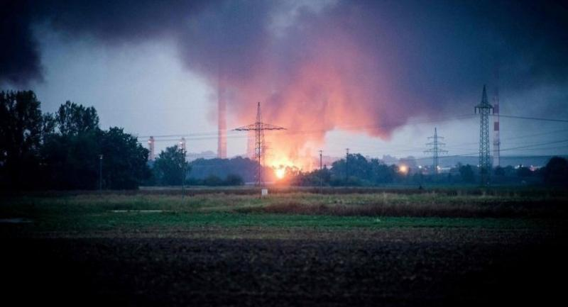 General view shows the fire on the site of a refinery of Bayernoil company where an explosion took place on early September 01, 2018 in Vohburg an der Donau near the Bavarian town of Ingolstadt.  /AFP