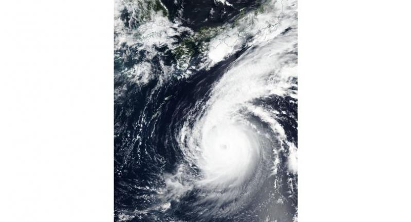A handout photo made available by NASA shows a satellite image of of typhoon Jebi moving north toward Japan on 02 September 2018 (issued 03 September 2018) / EPA-EFE