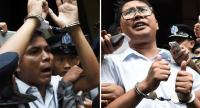 This combo shows journalists Kyaw Soe Oo (L) and Wa Lone (R) being escorted by police after their sentencing by a court to jail in Yangon on September 3, 2018./AFP