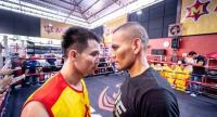 "Srisaket Sor Rungvisai of Thailand and  Iran ""MagnifiKO"" Diaz of Mexico."
