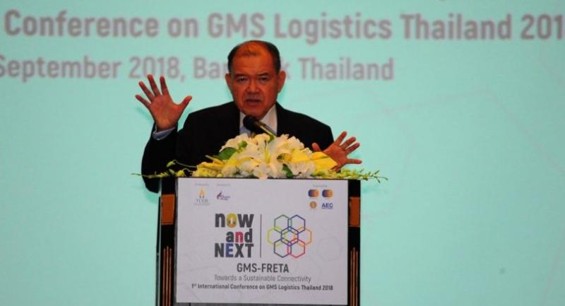 Supachai delivers the keynote speech at the 1st International Conference on GMS Logistics Thailand 2018