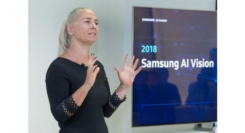 Professor Maja Pantic speaks about Samsung AI Center Cambridge's AI research direction at Samsung Design Europe in London on Tuesday. (Samsung Electronics)