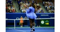 Serena Williams of the United States celebrates match point during her women's singles semi-final match against Anastasija Sevastova of Latvia.