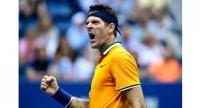 Juan Martin del Potro of Argentina reacts during his men's singles semi-final match against Rafael Nadal.