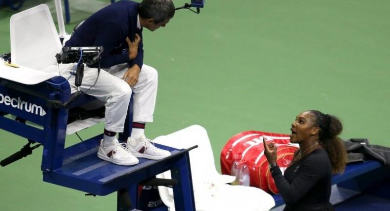 Serena Williams of the United States argues with umpire Carlos Ramos during her Women's Singles finals match against Naomi Osaka of Japan on Day Thirteen of the 2018 US Open.//AFP