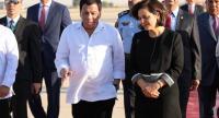 President of the Philippines Rodrigo Duterte and Jordan Minister of Social Development Hala Lattouf look on after his arrival at the Queen Alia Airport in Amman, Jordan, September 5.//EPA-EFE