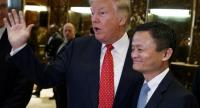 US President Donald Trump, accompanied by Jack Ma, Alibaba's co-founder and chairman, speaks with reporters after a meeting at Trump Tower in New York, Jan 9, 2017. [Photo/IC]