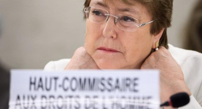 New High Commissioner for Human Rights Michelle Bachelet looks on on the opening day of the 39th UN Council of Human Rights in Geneva on September 10, 2018./AFP