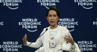 Myanmar State Counsellor Aung San Suu Kyi speaks at the World Economic Forum on ASEAN at the National Convention Center in Hanoi on September 13, 2018./AFP